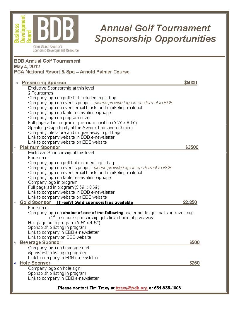 Pin Golf Tournament Sponsorship Form Template on Pinterest